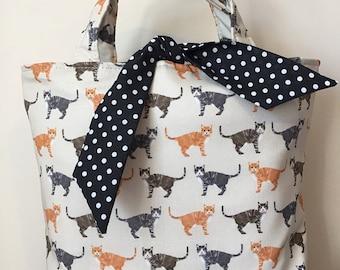 Tabby cat print handbag