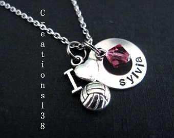 Volleyball Gift, Personalized name Volleyball Jewelry,Player Necklaces ,Volley Ball Gift,  Coaches Gifts, Sport Gifts