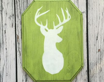 Stag Head Silhouette - Hand Painted Wood Sign -  Handcrafted Wall Decor - Quirky Deer Head - Lime Green
