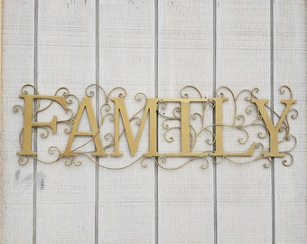 Family Decor, Family Wall Art, Wrought Iron, Metal Family sign, Metal Decor, Shabby Chic Decor, Aged Brass, Picture Wall, Family