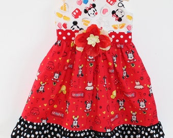 Minnie Mouse  Emoji Dress, party dress, toddler dress, girls dress, disney dress, custom boutique dress
