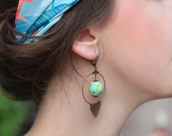 Handpainted pineapple motif earrings