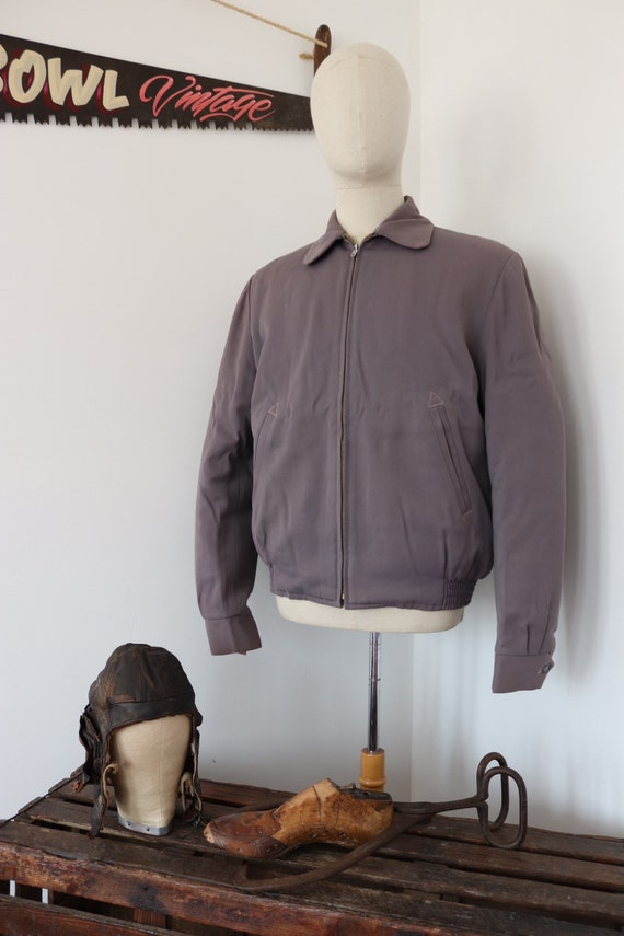 "Vintage 1950s 50s heather grey Sears Hercules Outerwear gabardine gab jacket Talon zipper rockabilly quilted 46"" chest"