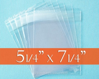 """100 Cello Bags: 5 1/4 x 7 1/4 Inch; Clear & Resealable, Acid Free, for 5 x 7 Photos, Tape on Flap. (5.25"""" x 7.25"""")"""