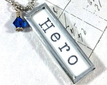 Hero Necklace, Word Jewelry, Hero Gift
