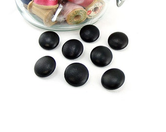 Size 24L Leather BUTTONS 5/8 inch, 17mm, #24 Ligne QTY: sets of (4)-(6)-(8)-(10)-(12) Shank Black Dk Brown Gray, Genuine Hide, Sewing, Decor