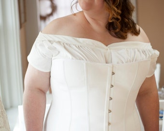 SALE Edwardian Corset in Plus Sizes for Living History, Titanic Era, 1910's, Teens Era Costuming, Reenactment, size 18 - 26 Womens