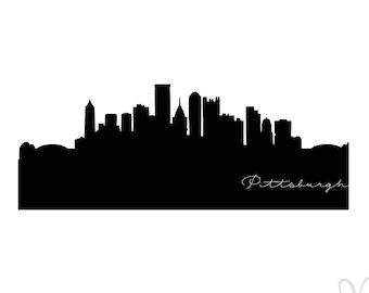 Pittsburgh Pennsilvania City Skyline Silhouette with Script  - Instant Download File - svg / jpg / Studio3 / PDF