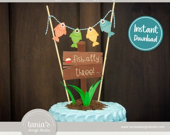 Gone Fishing - The Big One - Officially Three - Ofishally Three - Birthday Cake Topper - Instant Download - by Tania's Design Studio