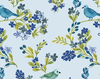 "Clothworks, From Ellen Crimi-Trent, ""Marguerite"", Blue Birds and Flowers, yard"