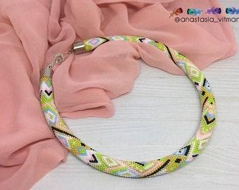 Bead Crochet Rope necklace - Spring Multicolor - Multicolor Necklace - Green Necklace - Blue Necklace - White Necklace