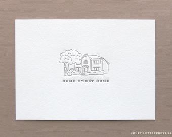 custom letterpress printed house illustration