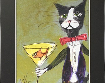 Funny Tuxedo Cat with Martini Painting - Cat Art Print in 5x7 Black Mat - Gift for Cat Lover - Black and White Cat print