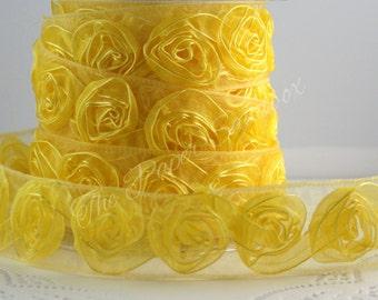 """Yellow Rosette Ribbon Trim, 1.5"""" wide, Sheer Yellow Rose Trim"""