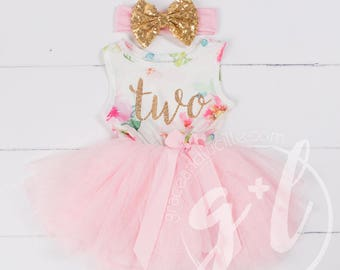 Pink Floral Second Birthday Outfit, Second Birthday Dress, 2nd birthday outfit, 2nd birthday dress, Floral, Pink