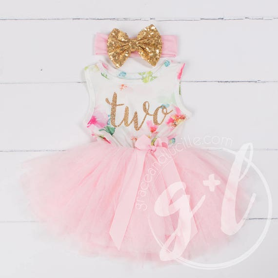 Pink Floral Second Birthday Outfit Second Birthday Dress 2nd
