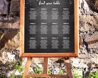 Wedding Seating Chart, Chalkboard and Silver, Silver Confetti Seating Chart, DIY Seating Chart, Editable PDF Template, Instant Download E46A