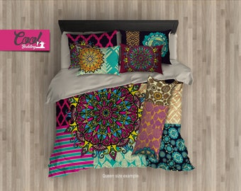 Bohemian Pattern Bed Set, Mandala Beddings, King Queen Full Bed Set, Mandala Pattern Bedding Set 17