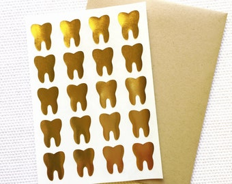 Teeth Stickers / Labels in Gold Foil or Kraft
