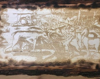 Custom wooden plaque. Hunting scene, interesting if you look real close.