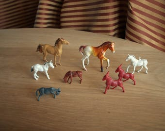 Lot of 8 Vintage Plastic Toy Horses and Donkeys
