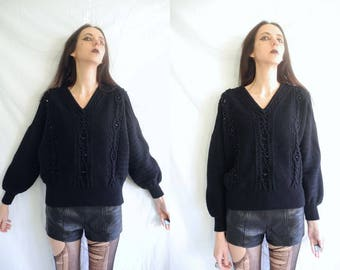 80's Escada goth, grunge black wool chunky knit embellished front jumper/sweater.