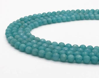 1Full Strand 8mm Light Blue Jade Faceted Round Beads,Wholesale Jade Gemstone For Jewelry Making