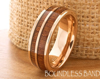 Double Wood Inlay Tungsten Ring Wood Wedding Band Flat High