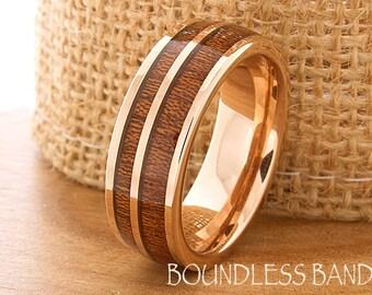 Rose gold wood ring Etsy