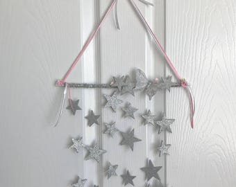 Girl Room Wall Hanging/Mobile/Glitter Star/Kids Room Décor/baby shower/nursery décor/wall decoration/baby mobile/girl décor/dream catcher
