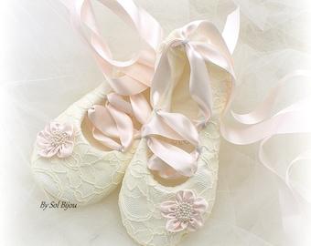 Blush Ballet Flats, Blush Ballet Shoes, Ivory Lace Shoes, Ivory Ballet Slippers, Lace Wedding Shoes, Ivory Lace Bridal Flats Shoes