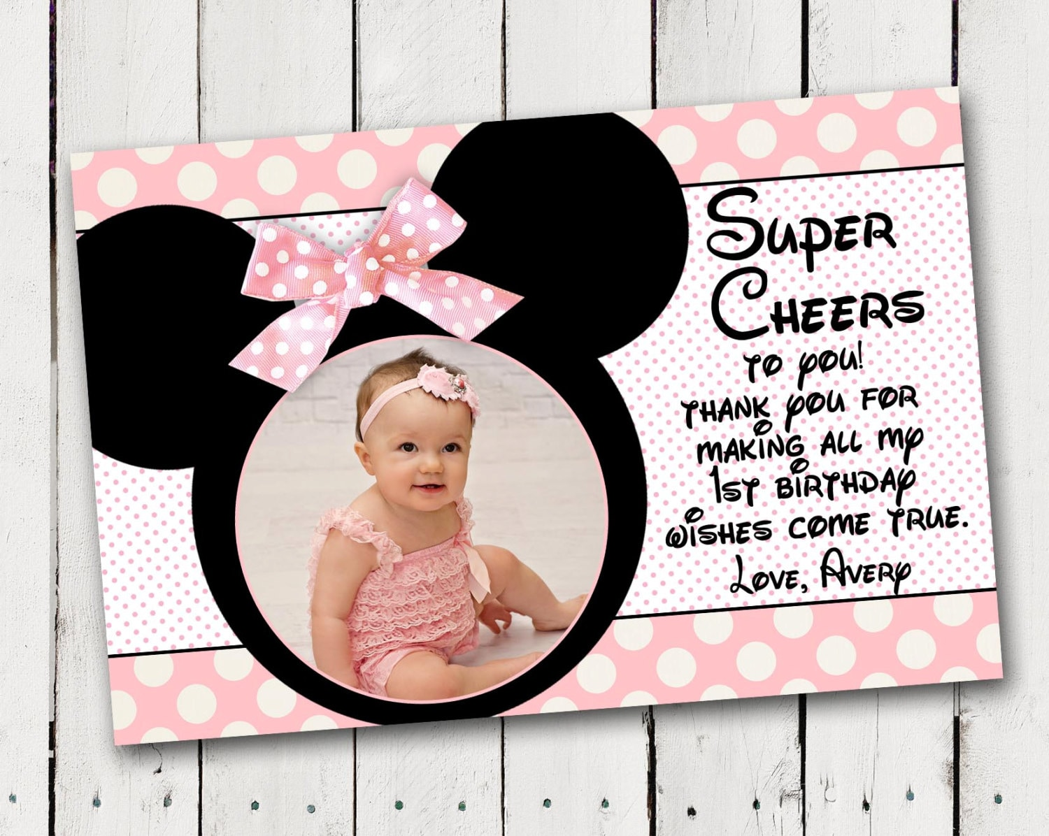 Baby minnie mouse 1st birthday thank you card bookmarktalkfo Images
