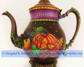 328 Autumn Tea With Friends-Decorative Painting Pattern Packet-Instruction-Tole-Metal-Painted Teapot-Fall-Thanksgiving-Pumpkin-Tea Party-DIY