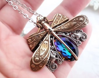 Mixed metals dragonfly necklace statement necklace, volcano blue dragonfly jewelry, Art Nouveau filigree jewelry, Victorian fantasy jewelry