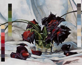 "Flower Oil Painting Still Life, Original Art Painting of Wilted Red Roses, Memento Mori Painting, Fine Art - ""Dead Reds in 31 Colors"""