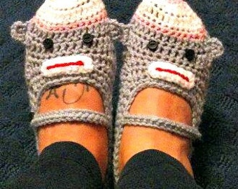 Crocheted monkey face Mary Jane slippers-TEEN/ADULT