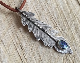 Adventurer's Feather: Sterling Silver + Cultured Opal