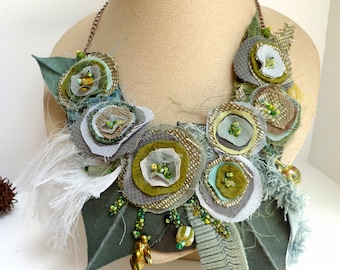 Fiber art green fabric collage floral necklace, bohemian style, featured In Autumn 2011 Belle Armoire Jewelry Magazine, Morning beauty XIII