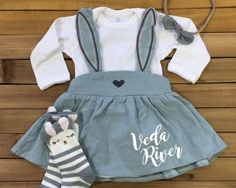 Girls EASTER Outfit with Custom Monogram or Name INCLUDES Socks & Headband Easter Dress Easter Outfit Baby Girl Easter Bunny Dress for Baby