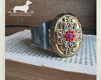 Boho. Locket Cuff Bracelet -- (Vintage-Style, Two-Toned, Antiqued Silver, Gold, Bohemian, Indie, Rustic, Multicolor, Birthday Gift Under 30)
