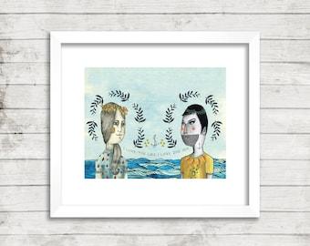 Girl and Boy at Sea Illustration, Art Print