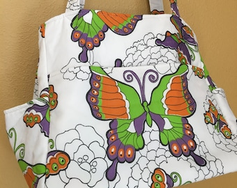 Katrina#1628, Butterfly Tote, Vintage Butterfly Fabric, Large Tote, Large Knitting Bag, Knitting Project Bag, Project Bag, Project Tote, Bag
