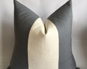 Charcoal Gray And Cream Linen/Cotton Vertical Stripe Pillow Cover