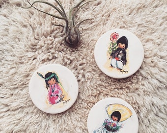 REDUCED-10% OFF Ted deGrazia Handpainted Coasters, Children of the Southwests Art, Vintage Handmade Ceramics,