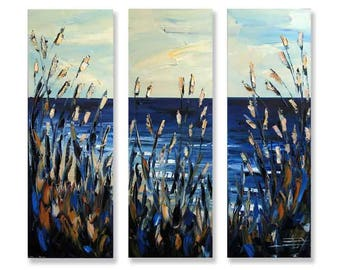"Commission Art, Landscape Painting, 36"", Large Art, Custom,MADE TO ORDER,Three Panel,Triptych,Artwork by San Francisco Bay Artist Lisa Elley"