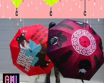 FREE SHIP - Reverse Open Umbrella #WorkSlayServe chibrellas (black girl magic bag dope art melanin black lady natural hair 4c)