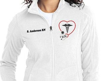 Monogram Stethoscope Nurse Jacket - Nurse Fleece Full Zip Jacket - RN Monogram Apparel - Blue Jacket - Plus Size Jacket - Ladies Monogram