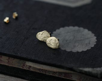 Keepsake Floral Slate 18kt gold-plated studs