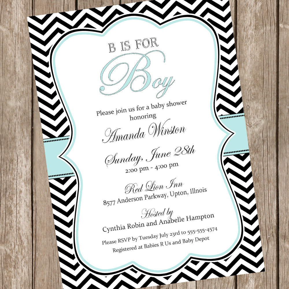 B is for Boy Elegant baby shower invitation boy baby shower