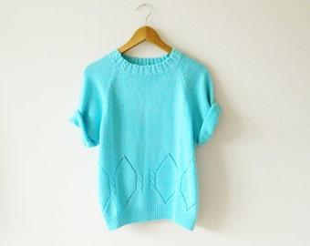 Aqua Vintage Knit Slouchy Sweater / Geometric Diamond Vintage Sweater / Cozy Pointelle Knit Sweater / Vintage Jumper